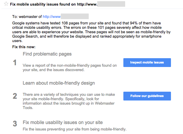 Google Webmaster Tools Message to Fix Mobile Usability Issues